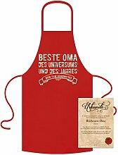 Koch-Küchen-Grill-Schürze Aufdruck: Beste Oma des Universums mit gratis Urkunde cooles Weihnachtsgeschenk Geburtstagsgeschenk Geschenke Großmutter Farbe: ro