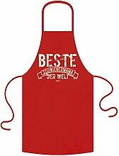 Koch-Küchen-Grill-Schürze Motiv: Beste Schwiegermama der Welt mit gratis Urkunde als Weihnachtsgeschenk Geburtstagsgeschenk Geschenke Mutter Farbe: ro