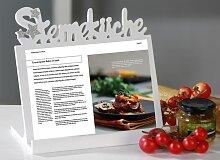 Kochbuchhalter / Tabletthalter STERNEKÜCHE Holz weiß 23x27cm Casablanca (18,50 EUR / Stück)