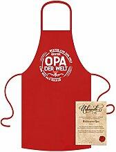 Kochschürzen mit Gratis Urkunde Bester Opa der Welt als Geschenk für Großvater Farbe:ro