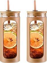 Kodrine Wasserflasche aus Glas mit Strohhalm und