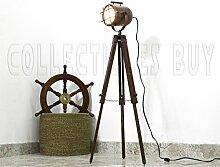königlich Jahrgang Kupfer Antiquität Marine Schiff Suchscheinwerfer Nautisch Hölzern Stativ Stock Lampe Maritime LED Beleuchtung