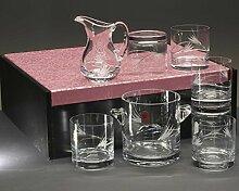 """Koffer 6 niedrige Whisky oder Wassergläser + Glaskrug + Eiskübel, Handgeschnitzt, Kollektion """"429""""."""