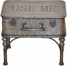 Koffer Beistelltisch aus Metall Grau