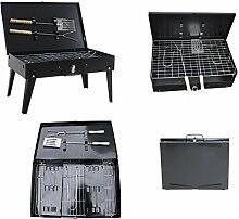 Koffer Klappgrill Tragbar Grill Kohle Grillstation Barbecue Holzkohle Camping