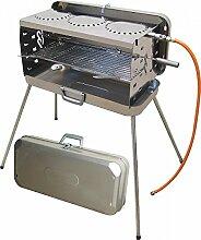 KOFFERGRILL - 100 % EDELSTAHL - KOFFER GRILL - mit 3 KOCHSTELLEN + 50 mbar Version - 80 cm Gasschlauch , Koffer, Seitenteile , Brenner und Kochplatten aus Edelstahl - MODELL: CRAMER BERGAMO - Vertrieb durch Holly Produkte STABIELO - Innovationen Made in Germany -