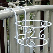 Kofun Blumenregal Kreative Balkon Zaun Blumentopf Im Freien Pflanze Hängende Regal Weiß