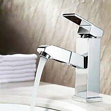 Kohsed Ziehbaren Kupfer Bad Armatur Kupfer Waschbecken mit warmem und kaltem Wasser Waschbecken Faucetmodern einfache Luxus Qualität Garantie Home Dekoration