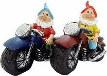 Koi 2er Set Gartenzwerge Zwerg auf Motorrad ca.