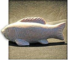 Koi aus Marmor Gartendeko Skulptur Figur Garten Deko Fisch Naturstein