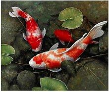 Koi Fisch Lotus Leinwand Feng Shui Tier