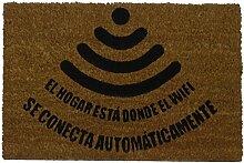 KOKO Kokos Fußmatte mit Motiv Haus WLAN, PVC,