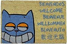 KOKO Kokos Fußmatte mit Motiv Katze Willkommen,