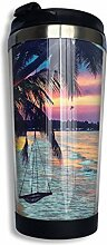 Kokosnuss-Strand-Sonnenuntergang-Hängematte,