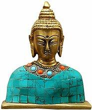 kolambas Buddha Büste mit Stein Arbeit Statue, gold, 10x 8x 3cm