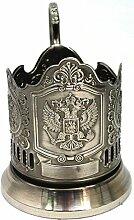 Kolchugino Teeglas-Halter mit Adler-Motiv, aus
