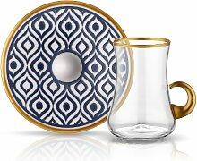 Koleksiyon Teeglas mit Goldhenkel und Unterteller
