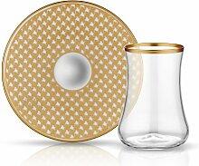 Koleksiyon Teeglas mit Goldrand und Unterteller