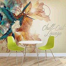 Kolibri Blumen Abstrakt - Fototapete - Tapete -