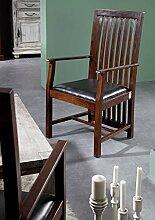 Kolonialstil Sessel Polster schwarz Akazie massiv Holz OXFORD ZENO #27