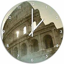 Kolosseum Rom, Wanduhr Durchmesser 48cm mit weißen spitzen Zeigern und Ziffernblatt, Dekoartikel, Designuhr, Aluverbund sehr schön für Wohnzimmer, Kinderzimmer, Arbeitszimmer