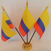 Kolumbien kolumbianischen 3Flagge Desktop Tisch mit Gold Boden