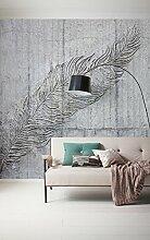 Komar - Vlies Fototapete BETONFEDER - 300 x 250 cm