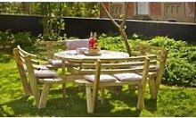 Kombi Picknicktisch rund aus druckimprägniertem