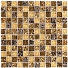 Kombimosaik Fliesen beige gold Wand Boden Dusche