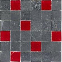 Kombimosaik Fliesen grau rot Wand Boden Dusche WC