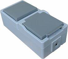 Kombination: Einfachschalter / Lichtschalter + Schukosteckdose IP44 Feuchtraum spritzwassergeschützt Aufputz System: STERA