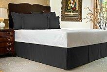 Komfort Bettwäsche 600tc 1Bett Rock kleines Doppelbett Größe 100% ägyptische Baumwolle Streifen, schwarz, Kleines Doppelbe