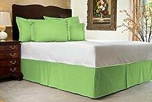 Komfort Bettwäsche 600tc 3-teiliges Bett Rock Kaiser Größe 100% ägyptische Baumwolle Streifen, Grün, Emperor