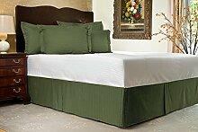 Komfort Bettwäsche 600tc 3-teiliges Bett Rock Kleine Doppelbetten 100% ägyptische Baumwolle Streifen, Moosgrün, Kleines Doppelbe