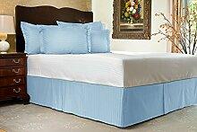 Komfort Bettwäsche 650tc 3-teiliges Bett Rock 100% ägyptische Baumwolle Streifen, hellblau, UK King