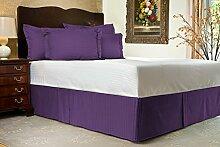 Komfort Bettwäsche 650tc 3-teiliges Bett Rock 100% ägyptische Baumwolle Streifen, violett, Kleines Doppelbe