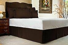 Komfort Bettwäsche 650tc 3-teiliges Bett Rock 100% ägyptische Baumwolle Streifen, braun, Einzelbe