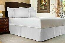 Komfort Bettwäsche 650tc 3-teiliges Bett Rock 100% ägyptische Baumwolle Streifen, weiß, Einzelbe