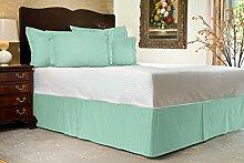 Komfort Bettwäsche 850tc 3-teiliges Bett Rock 100% ägyptische Baumwolle Streifen, aqua blue, Einzelbe
