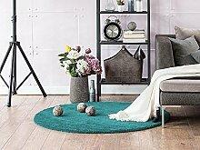 Komfort Shaggy Teppich Happy Wash rund - waschbar, trocknergeeignet und pflegeleicht | schadstoffgeprüft, antistatisch, robust, schmutzabweisend | für Wohnzimmer, Küche, Badezimmer, Bad, Farbe:Türkis, Größe:300 cm rund