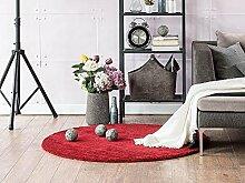 Komfort Shaggy Teppich Happy Wash rund - waschbar, trocknergeeignet und pflegeleicht | schadstoffgeprüft, antistatisch, robust, schmutzabweisend | für Wohnzimmer, Küche, Badezimmer, Bad, Farbe:Rot, Größe:80 cm rund
