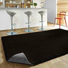Komfort Shaggy Teppich Happy Wash Schwarz nach Maß / waschbar, trocknergeeignet und pflegeleicht / schadstoffgeprüft, strapazierfähig, schmutzabweisend / für Wohnzimmer, Schlafzimmer, Küche, Bad uvm, Größe Auswählen:150 x 150 cm