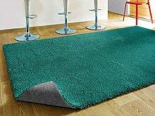 Komfort Shaggy Teppich Happy Wash Türkis nach Maß / waschbar, trocknergeeignet und pflegeleicht / schadstoffgeprüft, antistatisch, strapazierfähig, schmutzabweisend / für Wohnzimmer, Bad, Küche uvm, Größe Auswählen:100 x 100 cm
