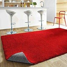 Komfort Shaggy Teppich Happy Wash - waschbar, trocknergeeignet und pflegeleicht | schadstoffgeprüft, antistatisch, strapazierfähig, schmutzabweisend | für Wohnzimmer, Küche, Bad uvm, Farbe:Rot, Größe:400 x 400 cm