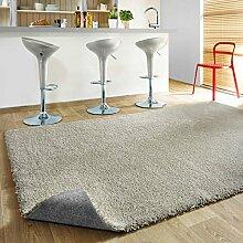 Komfort Shaggy Teppich Happy Wash - waschbar, trocknergeeignet und pflegeleicht | schadstoffgeprüft, antistatisch, strapazierfähig, schmutzabweisend | für Wohnzimmer, Küche, Bad uvm, Farbe:Silber, Größe:200 x 300 cm