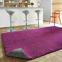 Komfort Shaggy Teppich Happy Wash - waschbar, trocknergeeignet und pflegeleicht | schadstoffgeprüft, antistatisch, strapazierfähig, schmutzabweisend | für Wohnzimmer, Küche, Bad uvm, Farbe:Lila, Größe:160 x 200 cm