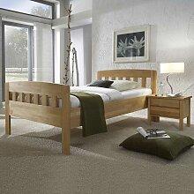 Komfortbett aus Kernbuche Massivholz mit