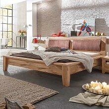 Komfortbett mit gepolstertem Kopfteil Eiche
