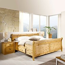Komfortbett mit Nachtkommoden aus Kiefer Massivholz Landhaus (3-teilig)