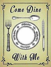 Kommen Dine Mit Me, tisch layout, platte, löffel, messer und Gabel. Vintage besteck satz Alt zeichen für küche, restaurant, cafe, pub, zu Hause. Metall/Stahl Wandschild - 15 x 20 cm